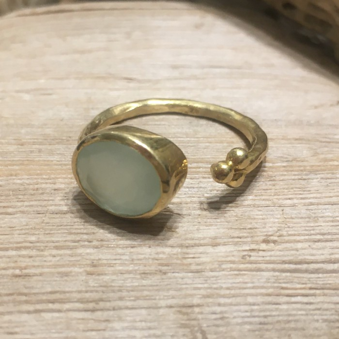 HELLENIC RING SILVER GOLD RING NATURAL STONE