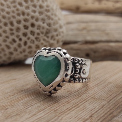 Anell Heart Anell Cor pedra natural anell plata anell passió amor