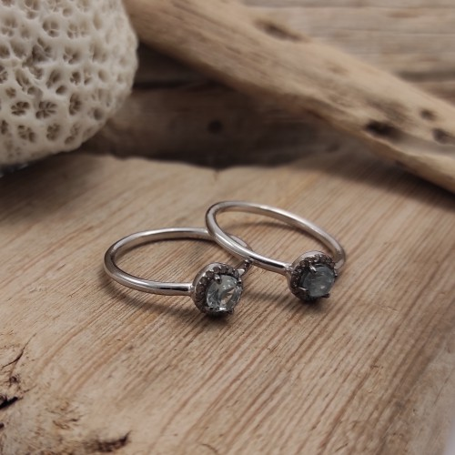 Silver ring with natural stone surrounded by diamonds. Timeless and romantic style ring. The perfect present!