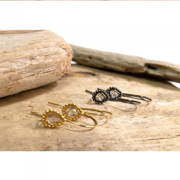 WATER EARRINGS vintage organic different gold diamond silver
