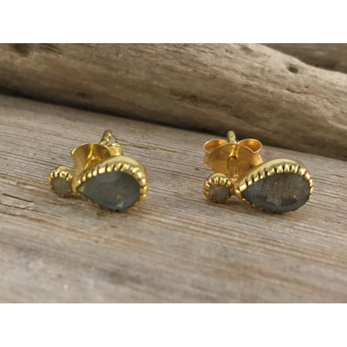 STUD EARRINGS natural stone silver gold