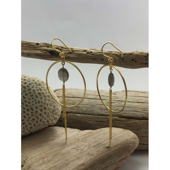 EARRINGS SILVER GOLD PLATED EARRINGS NATURAL STONE EARRINGS HOOP CHAIN EARRINGS CALIOPE