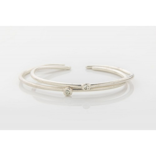 AQUAMARINE SILVER SIMPLE LOVE RIGID BRACELET