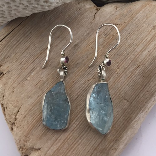 Original silver earrings with raw aquamarine and pink tourmaline.